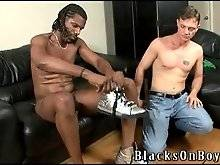 Cock hungry white guy works at thick black dick.