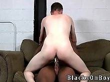Snow white guy is jumping on thick black dong.