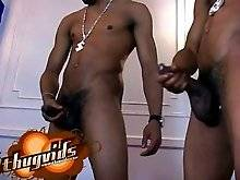 Straight black jerkoff buds love watching each other stroking off their big black cocks