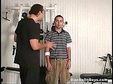 Cute guy looks for a joband is invited to see gym. He is interviewed by his employer.